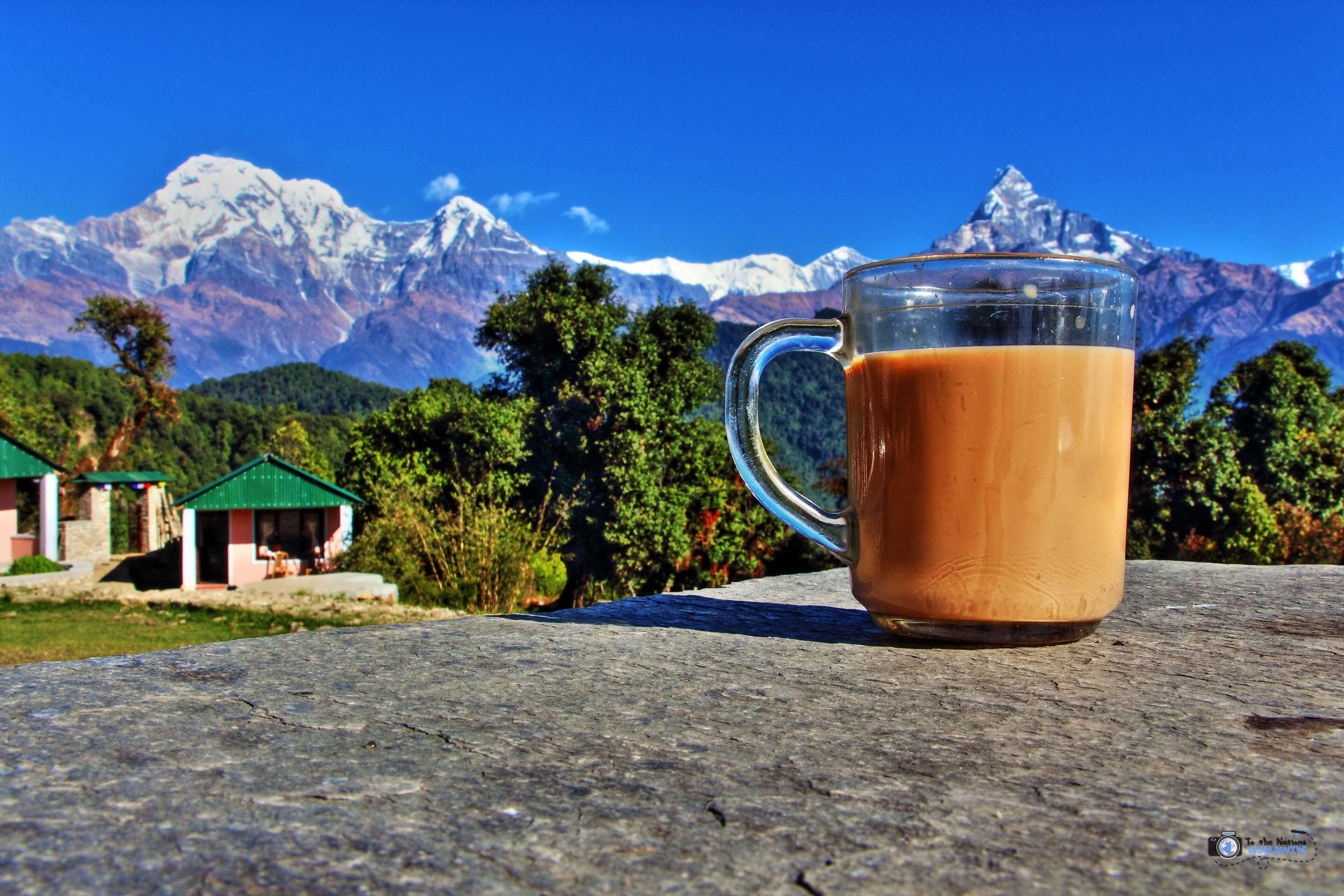 Travel Photo The Annapurna Mountain Range with Nepalese Tea