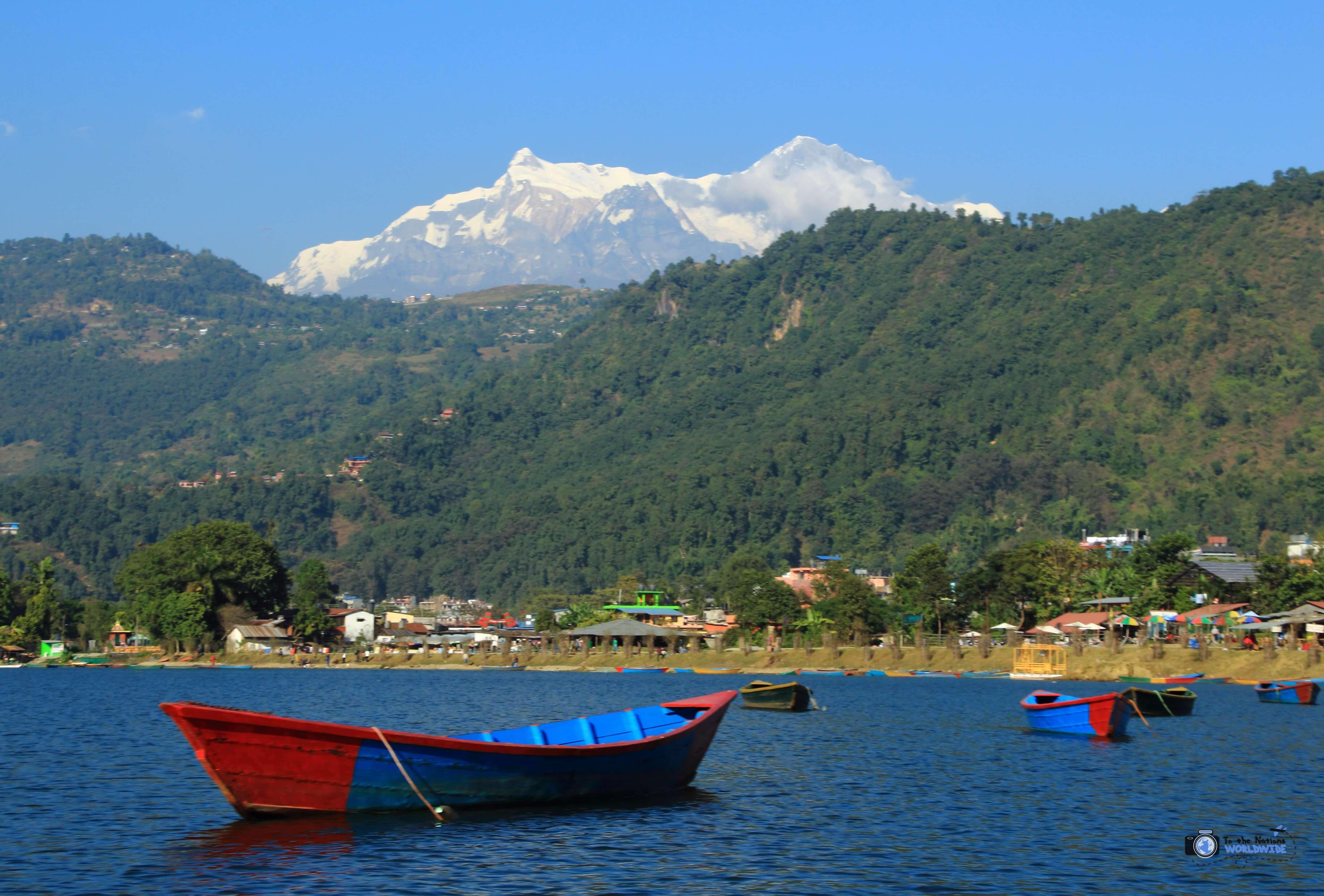 Phewa Lake, Pokhara, Nepal with the Annapurna Mountain Range in the Background