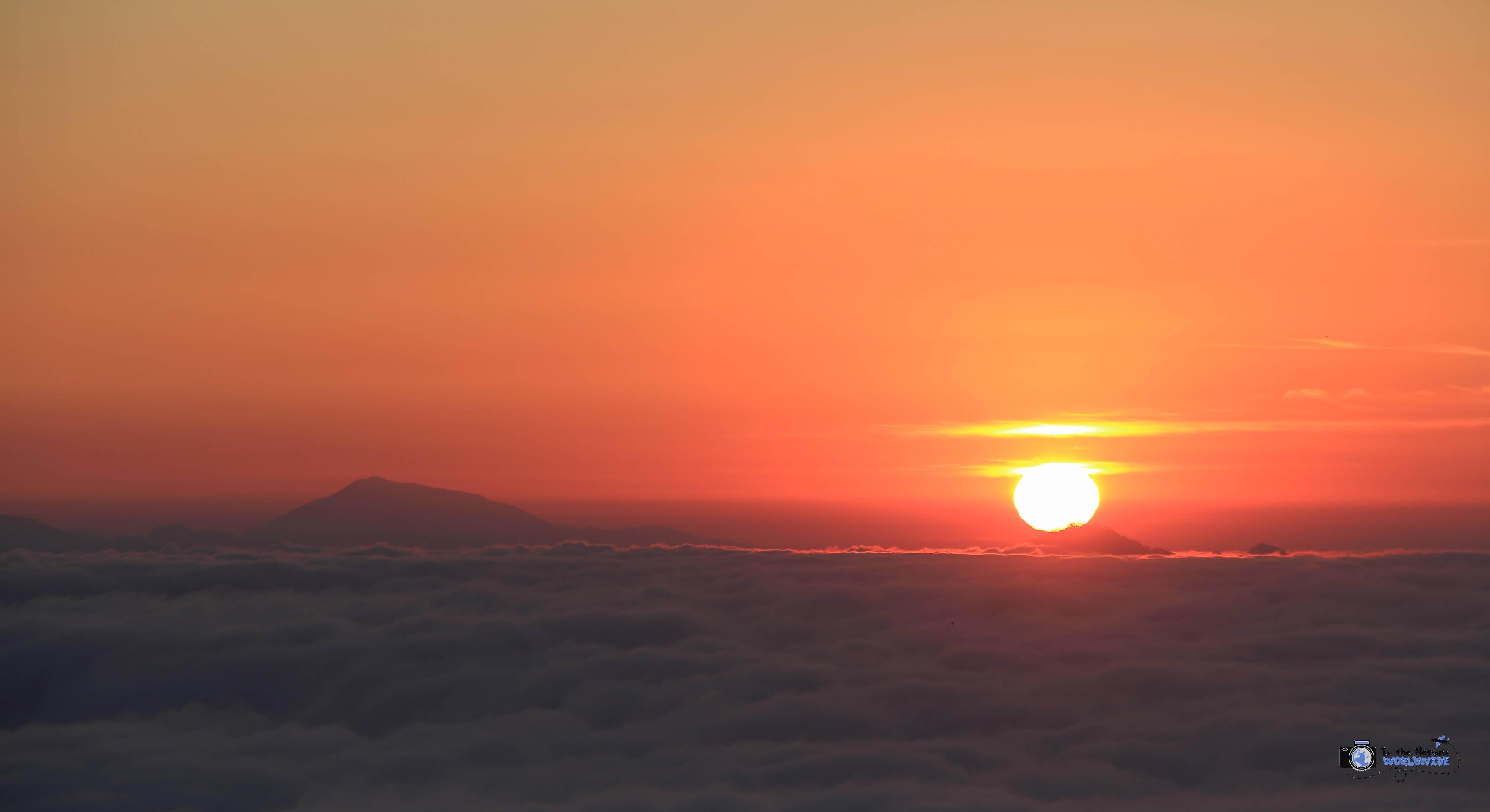 Sunrise from atop Sarangkot Mountain in Pokhara, Nepal