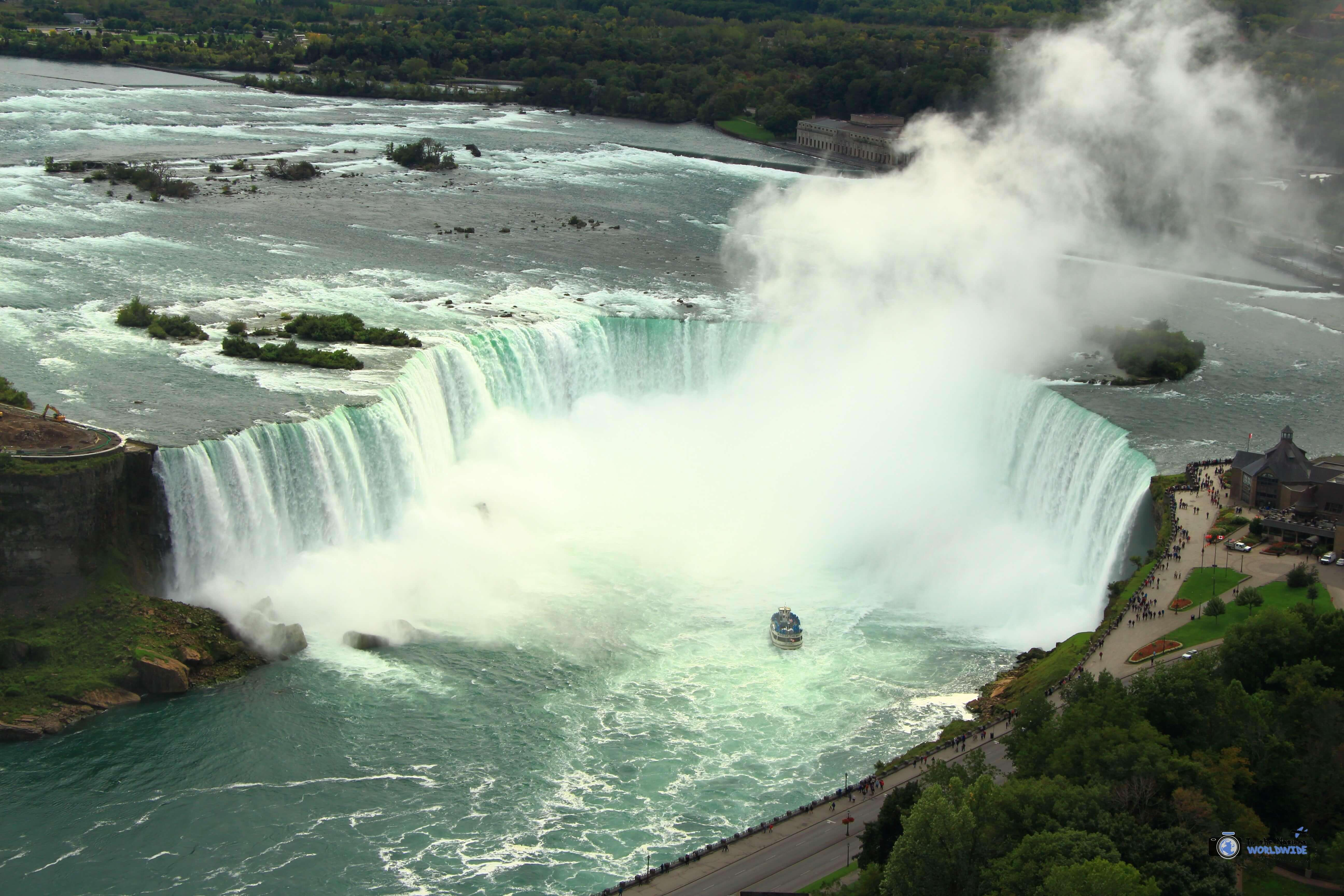 A view of the falls from the Skylon Tower in Niagara Falls, Ontario, Canada