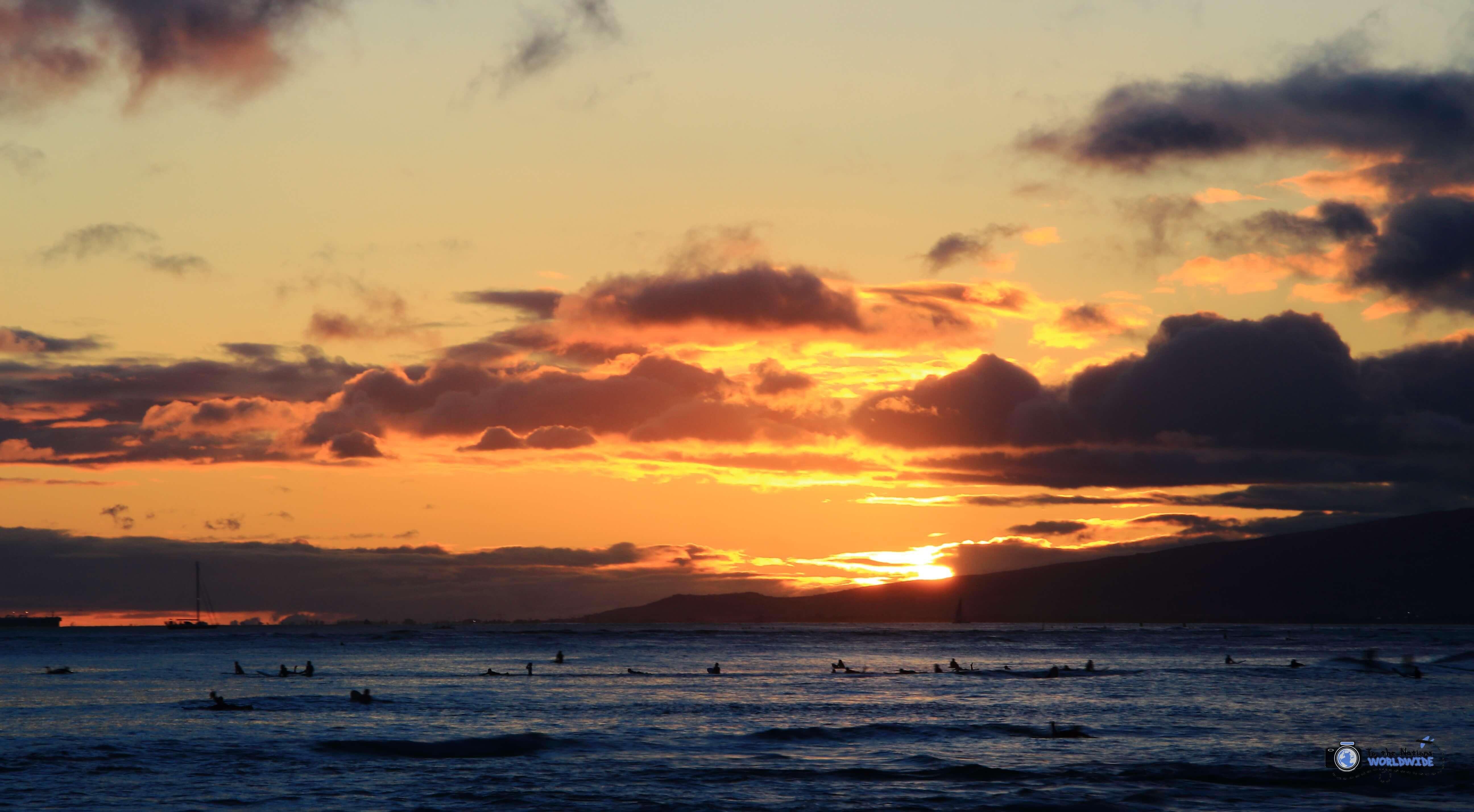 Sunset at Waikiki Beach, Honolulu, Hawaii