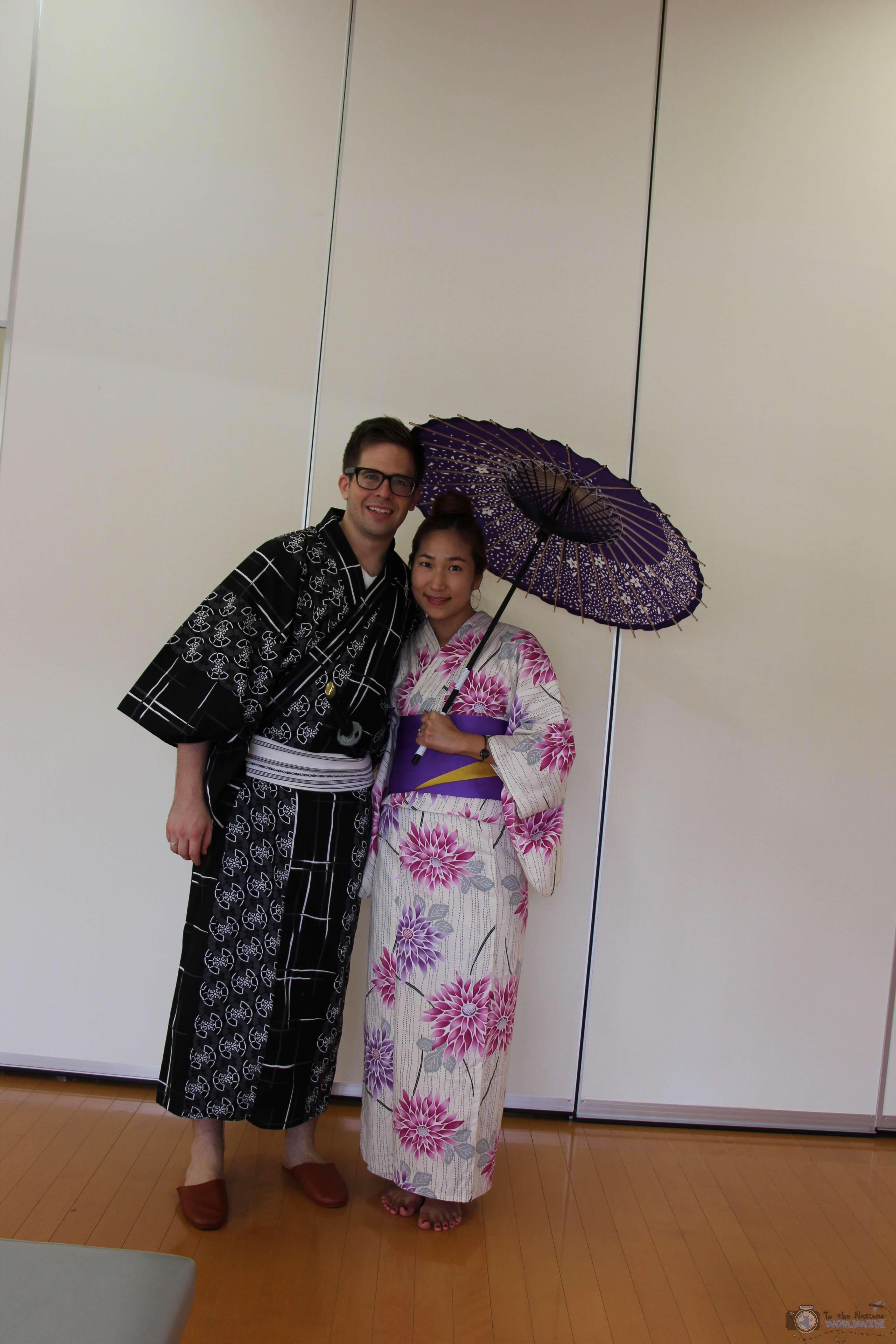 Wearing a Kimono in Narita, Japan