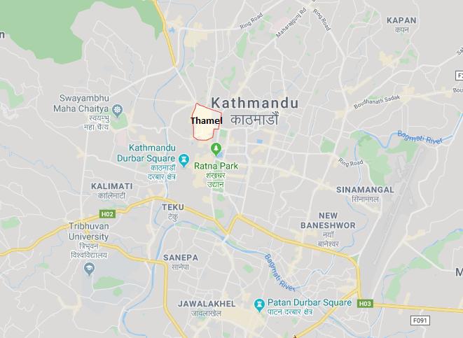 Thamel, Kathmandu Map